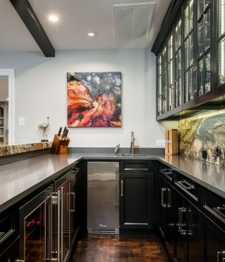 Exotic Stone with Black Lacquer Cabinets